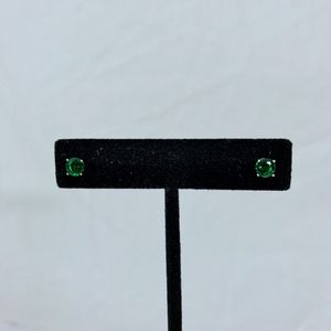 Jewelry - 18K White Gold Plate 1 Carat Emerald Stud Earrings